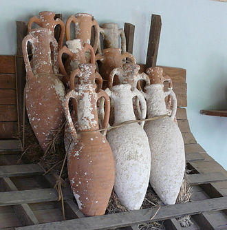 Pottery of ancient Greece - Amphorae designed for marine transport, taken from shipwrecks of the Bronze Age, on display in the Museum of Underwater Archaeology at Bodrum Castle, Turkey.