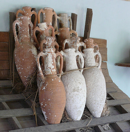 Amphorae designed for marine cargo, taken from shipwrecks near Bodrum, belonging to the Bronze Age. The rack and roping device to illustrate how the cargo might have been kept from shifting Amphorae stacking.jpg
