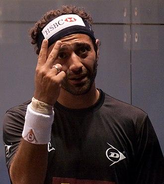 Amr Shabana - Amr Shabana reacts during his 2009 Kuwait Open semi-final match.