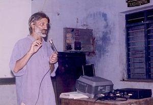 Anand Patwardhan - Patwardhan during a screening of Ram ke Naam at Kollam