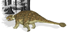Semi-posterior view of Ankylosaurus, with tail club prominent