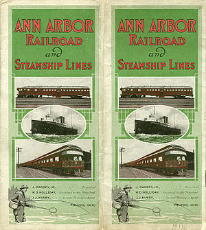 Elberta, Michigan - These Ann Arbor railroad cars and steamships would have been familiar sights in Elberta in 1911, when this timetable was printed.