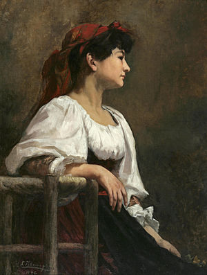 Anna Elizabeth Klumpke - Image: Anna Klumpke Seated Woman with a Red Kerchief (1886)