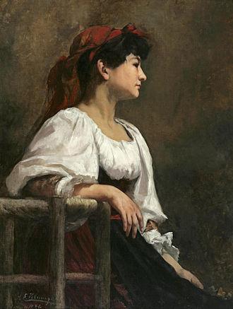 Anna Elizabeth Klumpke - Image: Anna Klumpke Seated Woman with a Red Kerchief (1886)