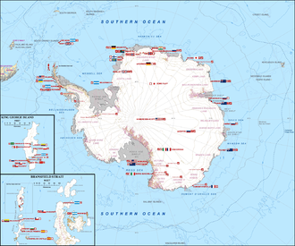 Research stations in Antarctica - Map shows the location of permanent Antarctic research stations