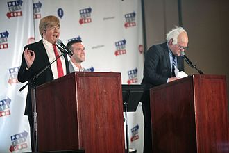 The President Show - Atamanuik in character as Trump (left) and James Adomian in character as Bernie Sanders (right) in June 2016
