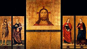 Triptych: Bust of Christ, Saint John the Baptist and Saint Peter. Closed: Saint John the Evangelist and Saint Colombe