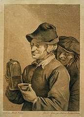 Pen drawing of two men with drinking bottle