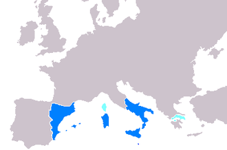 Military history of Catalonia - Maximum extension of the Crown of Aragon, in which Catalonia played an essential role in the Mediterranean affairs