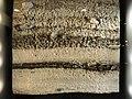 Archäologie im Parkhaus Opéra - Originalschichten Rettungsgrabung 2010 mit Kulturschichten (dunkel) und Seekreidablagerungen (hell) - 'Zwischenfutter' Hirschgeweih-Steinbeil 2013-03-04 16-24-44 (P7700).JPG