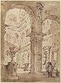 Architectural Capriccio- Courtyard of a Palace (recto); Saint Aloysius Gonzaga Holding a Crucifix (verso) MET 37.165.80 RECTO.jpg