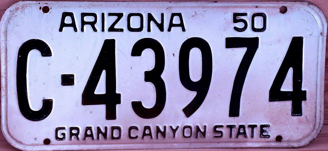 File:Arizona 1950 license plate.jpg