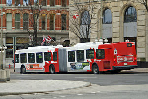OC Transpo - OC Transpo articulated bus in downtown Ottawa