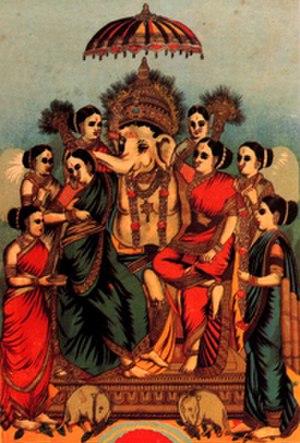 Consorts of Ganesha - Ganesha with the Ashta (8) Siddhi. The Ashtasiddhi are associated with Ganesha. – painting  by Raja Ravi Varma (1848–1906)