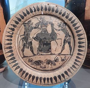 Ceryneian Hind - Image: Athenian plate with Heracles and Apollo fighting over the Keryneian hind