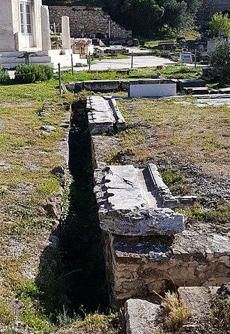 Latrine - Public Latrine at Athens' Roman Forum site.
