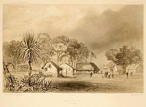 Port Essington - New Victoria in 1839. Lithograph from Voyage au Pôle Sud et en Océanie by Jules Dumont d'Urville