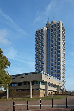 Attenborough Building - The Attenborough Tower with the seminar block in the foreground