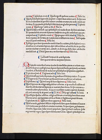 Lactantius - Page from the Opera, a manuscript from 1465, featuring various colours of pen-work