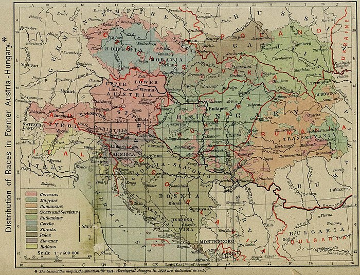 Post-WWI borders on an ethnic map) Austria hungary 1911 and post war borders.jpg