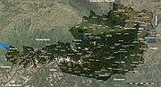 Satelitní snímek Rakouska s popisky (německy)