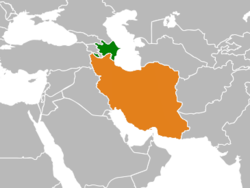 Map indicating locations of Azerbaijan and Iran