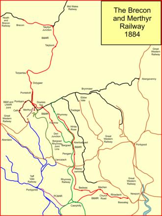 Brecon and Merthyr Tydfil Junction Railway - System map of the Brecon and Merthyr Railway in 1884
