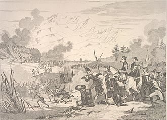 Sepia print shows soldiers advancing from right to left with mountains in the background.