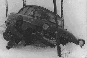 BRIXMIS - BRIXMIS Opel Kapitän stuck in the snow, Winter 1957–8