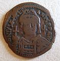 BYZANTINE EMPIRE, JUSTINIAN II, SECOND REIGN 705-711 A.D. -FOLLIS a - Flickr - woody1778a.jpg
