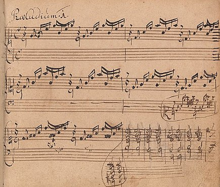 Early version BWV 846a (1720) of the first prelude of the first book, as written down by Bach in his eldest son's notebook Bach-wtc1-prelude1-early-ms.jpg