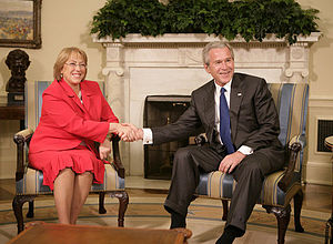 Chile–United States relations - President George W. Bush of the United States and Michelle Bachelet of Chile meet in Washington, DC.