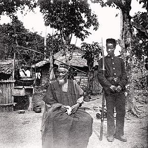 Hut Tax War of 1898 - Bai Bureh, leader of the Temne rebellion, under arrest in 1898.