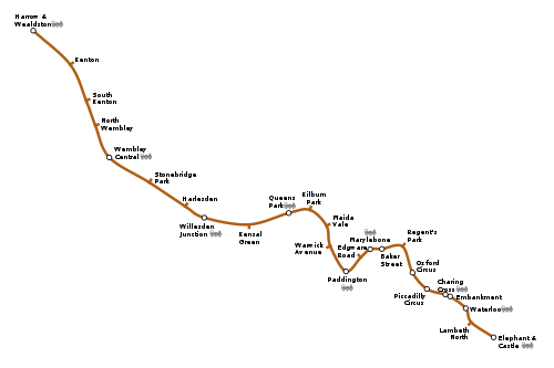 Geographically accurate map of the Bakerloo Line