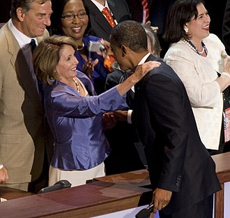 Nancy Pelosi - Pelosi and Barack Obama shaking hands at the 2008 Democratic National Convention