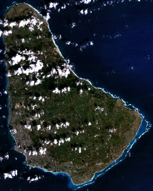 Outline of Barbados - An enlargeable satellite image of Barbados