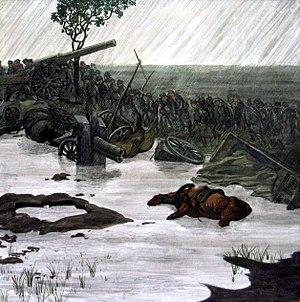 Alfred Basel - Nach dem Durchbruch am Tagliamento (After the Breakthrough at the Tagliamento). Oil on canvas, 100 × 100 cm. Heeresgeschichtliches Museum, Vienna.