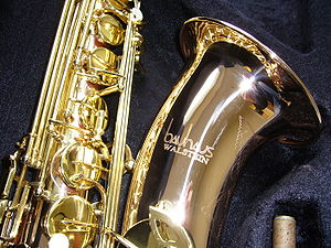 English: A phosphor bronze tenor saxophone, ma...