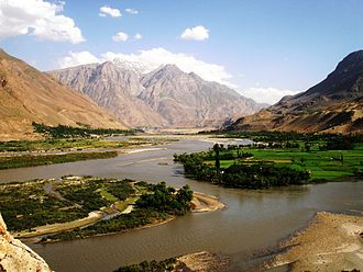 Shighnan District - Beautiful view of the Panj river, the border between Tajikistan, and Afghanistan in the region of Shighnan.