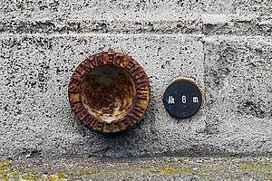 Benchmark on Palais de la Bourse, Nantes, Loire-Atlantique, France.JPG