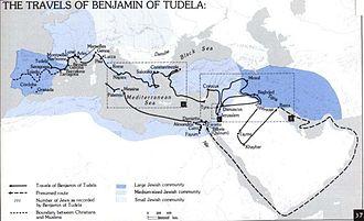 Benjamin of Tudela - Map of route