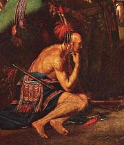 """A detail from Benjamin West's The Death of General Wolfe; West's idealised depiction of this American Indian is in the tradition of the """"Noble savage"""" (Fryd, 75)"""
