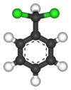 Ball-and-stick model of benzal chloride
