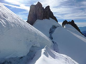 Bergschrund - Open bergschrunds at Mont Dolent