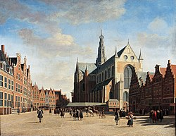 Gerrit Adriaenszoon Berckheyde: The Grote Markt in Haarlem with the St. Bavo church, seen from the west