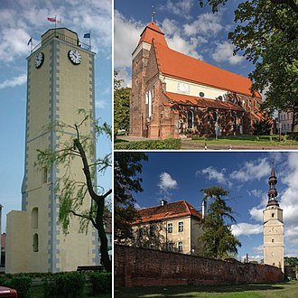 Bierutów - Town hall tower, church of st. Catherine, castle