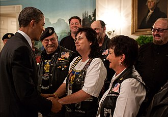 Rolling Thunder (organization) - Rolling Thunder members being greeted by President Barack Obama in 2012