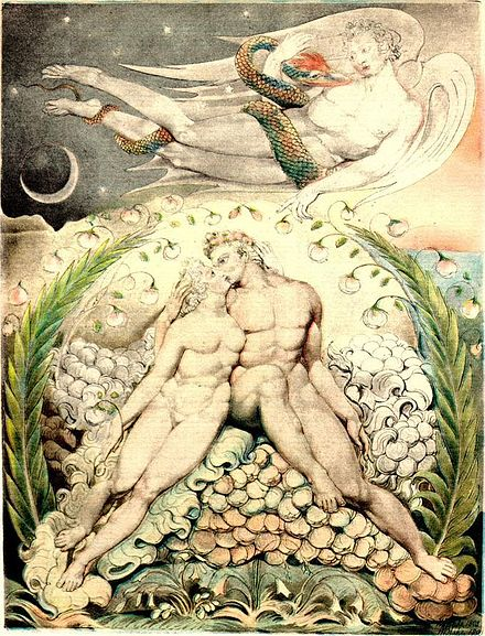 'Satan Watching the Caresses of Adam and Eve', watercolor by William Blake (1808) Blake, William (English, 1757-1827), 'Satan Watching the Caresses of Adam and Eve' (Illustration to 'Paradise Lost'), 1808, pen; watercolor on paper, 50.5 x 38 cm, Museum of Fine Arts, Boston, US.jpg