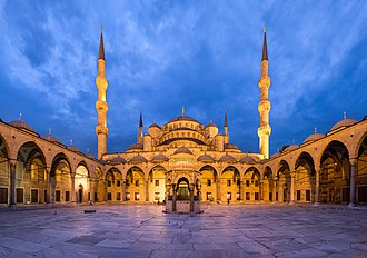 Sultan Ahmed Mosque - Courtyard of the mosque, at dusk.