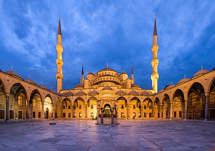 Blue Mosque Courtyard Dusk Wikimedia Commons.jpg